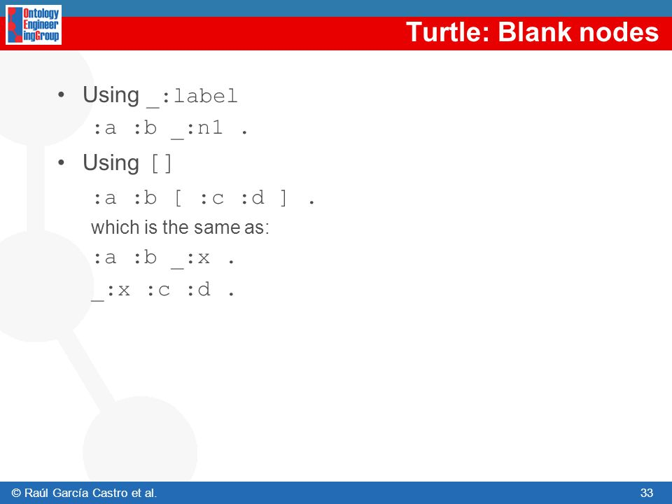 Turtle: Blank nodes Using _:label :a :b _:n1 . Using []